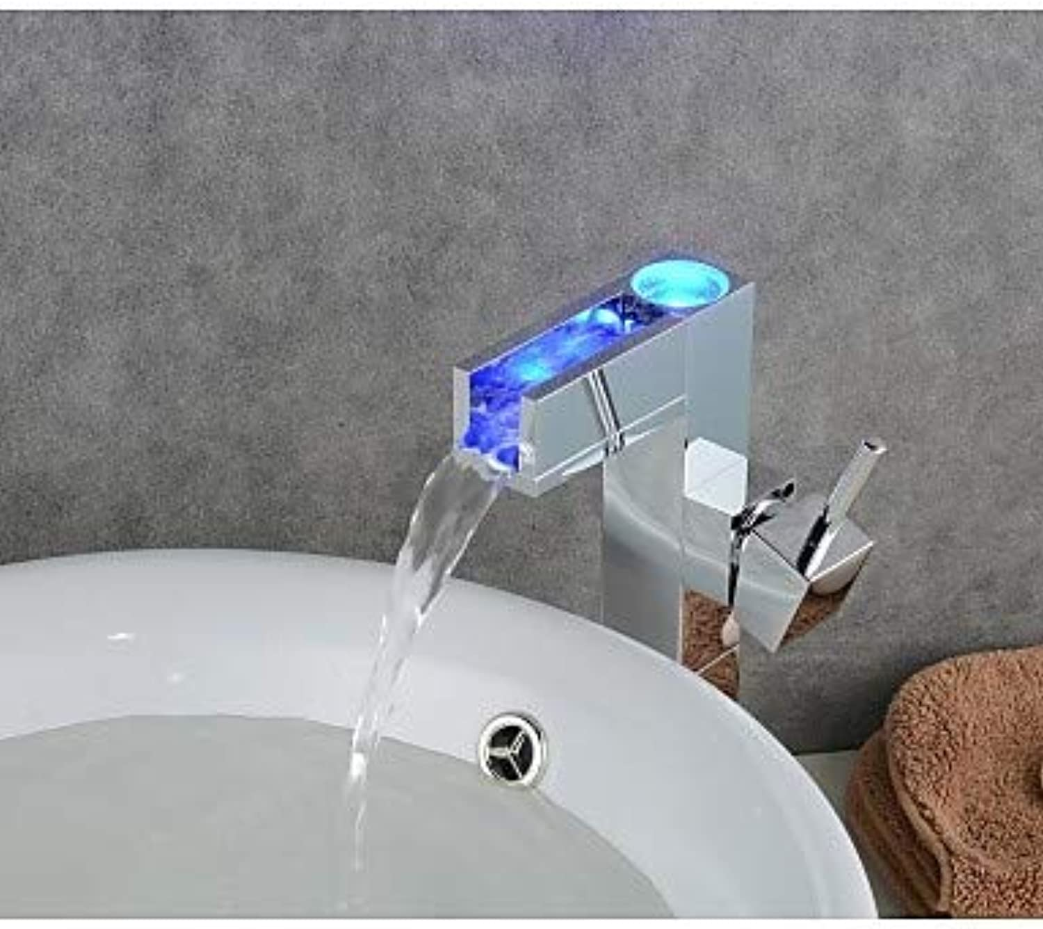 Mainstream home LPZSQ Tap Contemporary Chrome color Changing LED Bathroom Sink Faucet  70