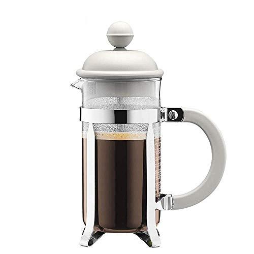 JINKEBIN Kawa prasa do kawy Urządzenie szklane ręcznie punch ekspres do kawy Mały przenośny filtr czajnik Mała pojemność kompatybilny z domem ekspres do kawy (kolor: biały, rozmiar: 350ml) Dzbanek d