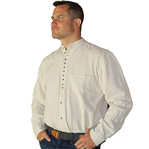 Traditional Irish Grandfather Shirt, Natural, XXL