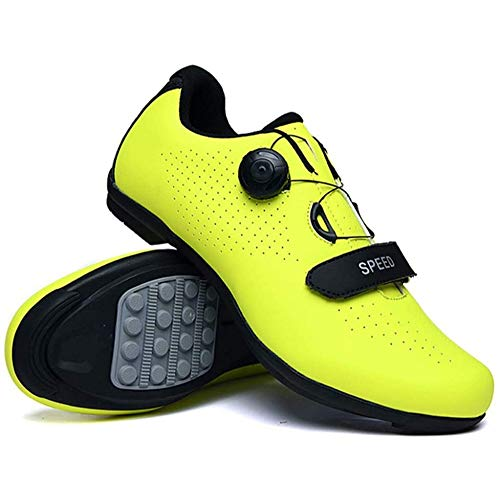 KUXUAN Zapatillas De Ciclismo para Hombre Zapatillas De Bicicleta De Carretera Zapatillas De Bicicleta De Montaña De Microfibra Reflectantes para Ocio,Green-41