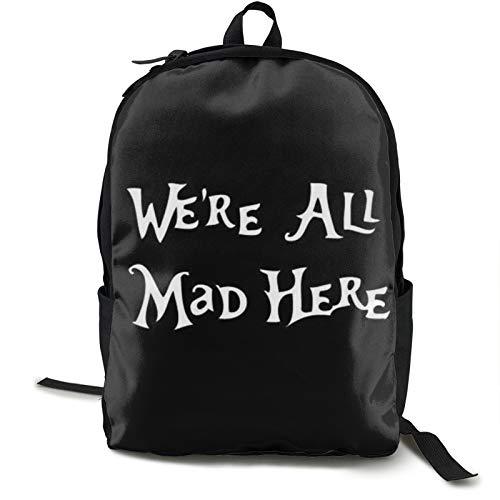 Alice-In-Wonderland-Inspired-We-Re-All-Mad-Here-Calcomanía de coche para Macbooks-Laptops-Car Laptop Mochila para hombre para acampar escalada ciclismo