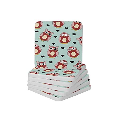 Juego de 6 posavasos absorbentes con forma de corazón y diseño de búhos con forma de corazón para tazas y tazas