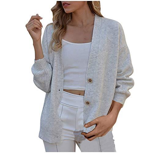 BakingMon Women Solid Color Sweater Coat V Neck Button Coat Long Sleeve Cardigan Sweaters Tops Short Coat Sweater White