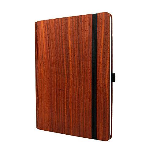 JUNGHOLZ WoodBook A5 - nachhaltiges Notizbuch aus Holz, kariert - Padouk