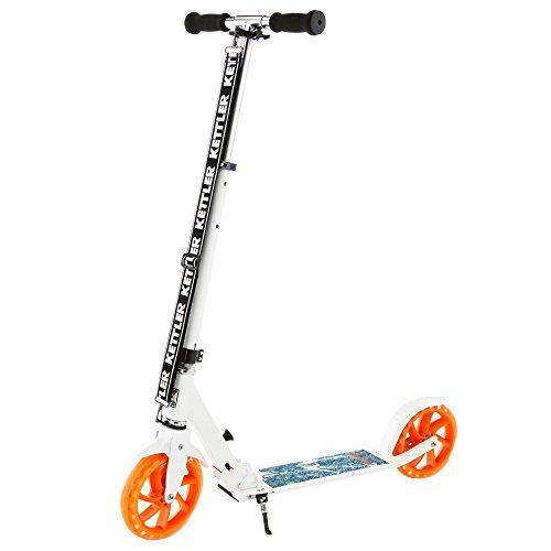 Kettler Roller Zero 8 Authentic Blue – Kinderscooter mit höhenverstellbarem Lenker – Klapproller mit Bremse und Ständer – stabil & leicht – im angesagten Skaterlook – blau, weiß & orange