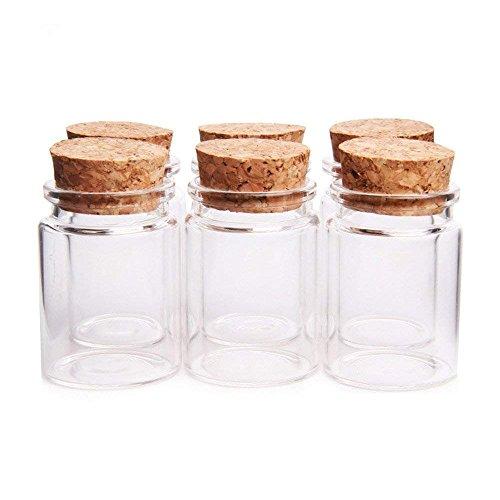 Danmu Art - Juego de 6 tarros de cristal con tapón de corcho (30 ml, 37 mm x 50 mm)