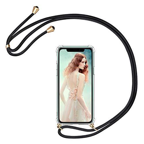 AROYI Handykette Handyhülle für iPhone 11 Hülle mit Kordel zum Umhängen Necklace Hülle mit Band Schutzhülle Transparent Silikon Acryl Hülle (Schwarz-Gold)