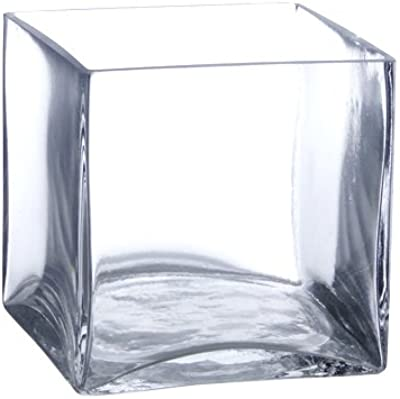 Amazon Com Wgv Clear Rectangle Block Glass Vase 3 By 4 By 7 Inch Home Amp Kitchen