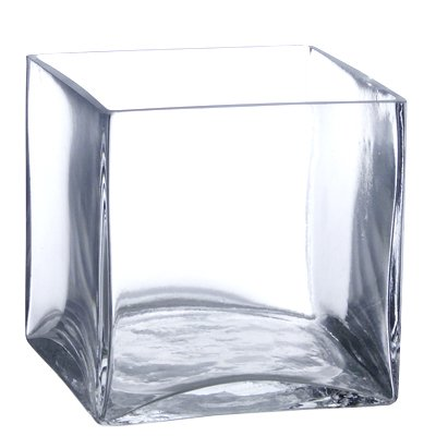 Candles4Less - Bulk 6 Pieces 6 inch Clear Glass Square Vases