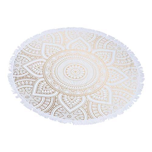 Wakauto Manta de Playa Redonda Mandala Tapiz Borla Throw Tapiz Estera de Microfibra Toallas de Baño Foto de Fondo Tela para Baño Junto Al Mar