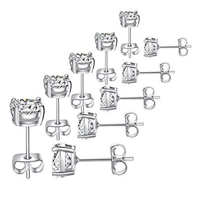 FOSIR Womens Mens 18K Real Gold Plated CZ Stud Earrings Clear Cubic Zirconia Ear Stud Set(5 Pair)