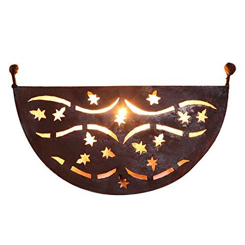 Casa Moro Orientalische Eisen Wandlampe EWL33 mit Eisen-Rostfinish 33x20 cm (BxH) | marokkanische Wandleuchte | Eisen Wandstrahler | Prachtvolle Eisenlampe für tolle Schattenspiele | L1782