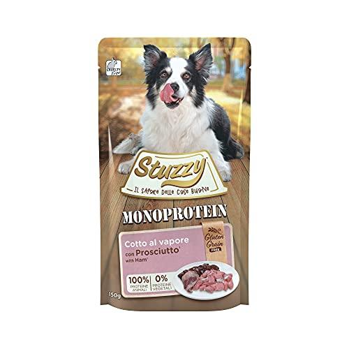 Stuzzy, Monoprotein Grain & Gluten Free, Cibo Umido per Cani Adulti al Gusto Prosciutto Preparato in Patè - Totale 1,8Kg (12 Buste da 150G)