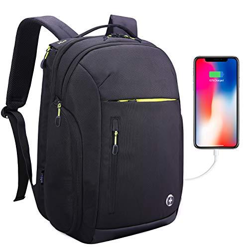 Swissdigital 40L Large Travel Laptop-Rucksack Wasserdichter Rucksack Anti-Diebstahl 17 Zoll Laptop Taschen mit USB Ladeanschluss/RFID Schutz Gepäcktasche, Schwarz