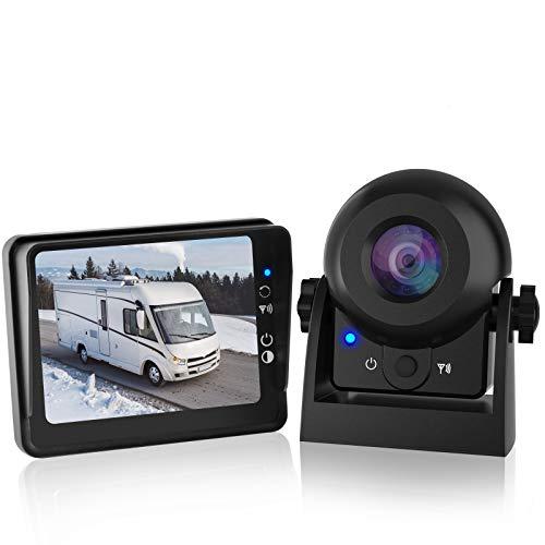 MHCABSR WiFi Kabellos Rückfahrkamera mit 3,5-Zoll-LCD-Monitor IP68 wasserdichte Weitwinkel-Nachtsicht Drahtloses Rückfahrkamera-Kit für PKW-LKW-Anhänger Wohnmobile…