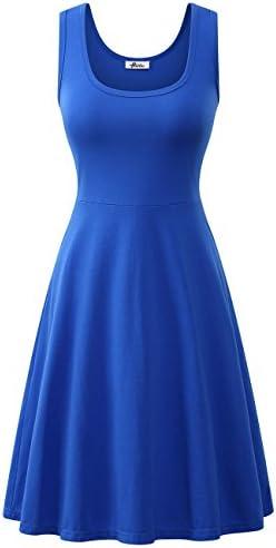 Black Midi Dress Summer Casual Sleeveless Scoop Neck Halter Skater Dress for Women 1 Royal Blue product image