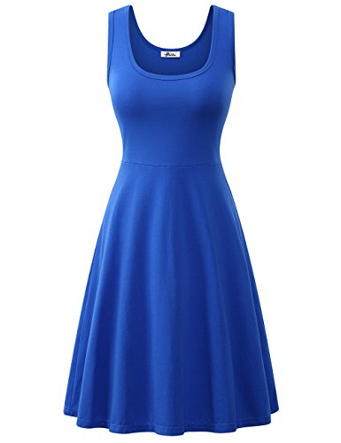 Herou Women Summer Casual Sleeveless A-Line Sun Dresses (1-Royal Blue, Small)