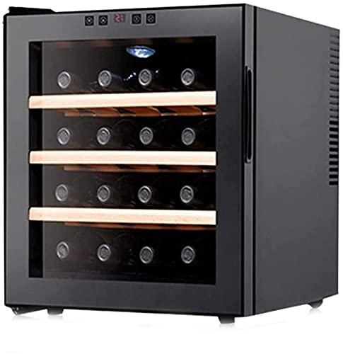 FREEZYMAN 16bottle Wine Refrigerator Wine Cabinet, Temperature-Controlled Independent Wine Cellar, Desktop Small Ice Bar, Wine Cooler (Color : Black, Size : 514843cm)