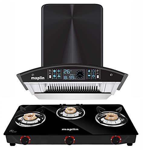 Maplin Combo of Kitchen Chimney in 60 cm (Silver) and Maplin 3 Burner Gas Stove (Mannual)