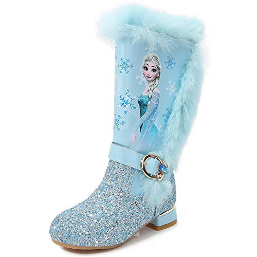 Ramonala Botas de Nieve Niña Botas Princesa Elsa con Forro Cálido Niño Botas de Invierno Botas de Hielo Azul Rosado Lentejuelas Niña Princesa Partido Disfraz Botas de Tacon Alto