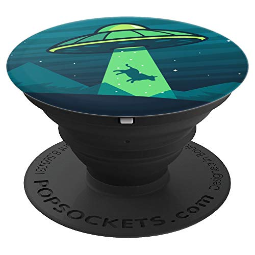 Aliens Abducting cow into Flying UFO Saucer Abduction PopSockets Grip and Stand for Phones and Tablets