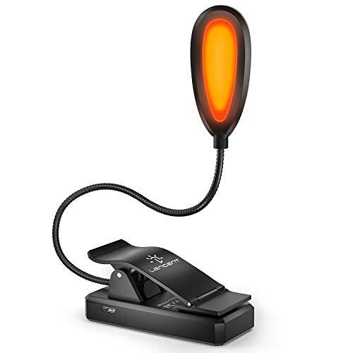 Luminária de livro, luminária de livro âmbar com clipe, bloqueio de luz azul, lâmpada de leitura recarregável LENCENT com LEDs quentes de 1600 K para leitura na cama, 3 luzes de auxílio para os olhos de brilho para auxiliar no sono, crianças