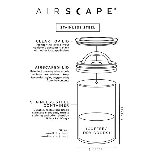 Airscape Coffee and Food Storage Canister - Patented Airtight Lid Preserve Food Freshness with Two Way CO2 Valve, Stainless Steel Food Container, Brushed Steel, Medium 7-Inch Can