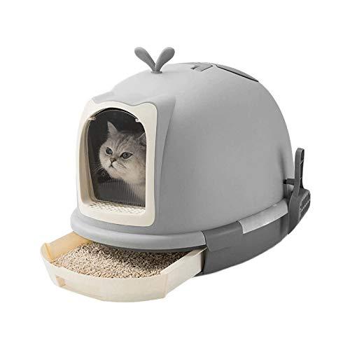 ZLHW Cajón de una Sola Capa Basura de la Basura de la Basura para el Inodoro para el Aseo de la Mascota de Mascotas Gris Cajas de Arena de Mascotas Aseo Capacitación de Aseo Moda Creativa Grande