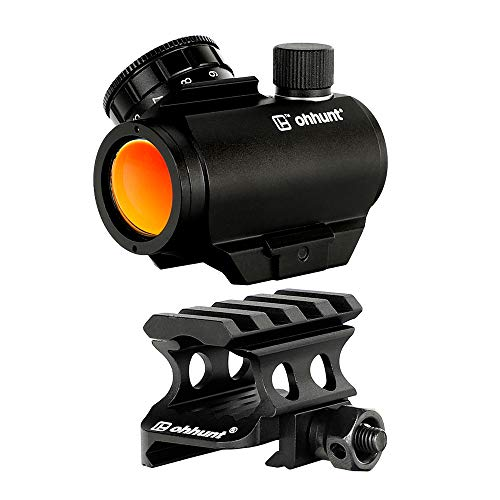 ohhunt 1x25mm Red Dot Scope 3 MOA Red Dot Sight with Riser Mount Picatinny Short 4 Slots (Style One)