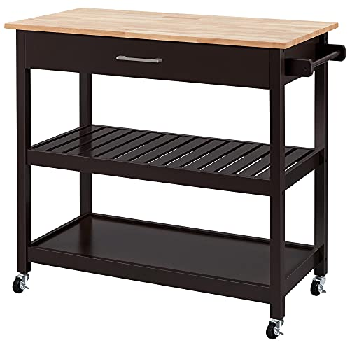 Topeakmart Kitchen Island Cart on Wheels with Wood Top, Rolling Utility Trolley Serving Cart with Storage Drawer/Wood Tabletop/Towel Rack, Espresso