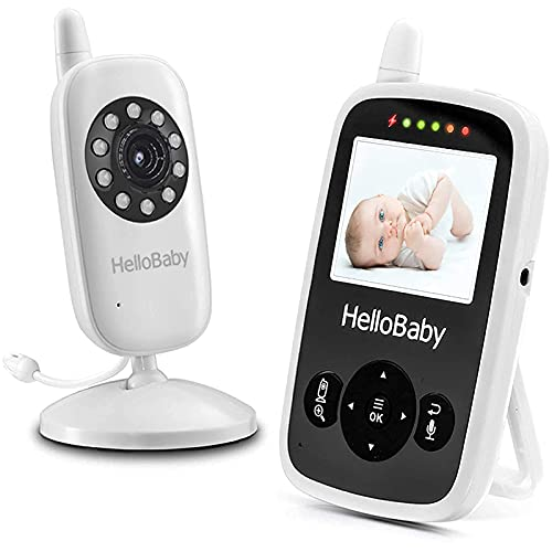 HelloBaby Video Baby Monitor with Camera and Audio - Infrared Night Vision | Two-Way Talk | Room Temperature | Lullabies | Long Range and High Capacity Battery