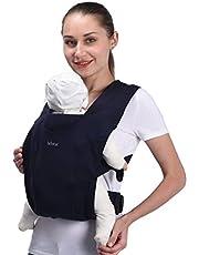 Bebamour Bärsele för nyfödd Omfamna mjuk babyförpackningsbärare för nyfödda 7-25 pund, 100% bomull(Dark Blue)