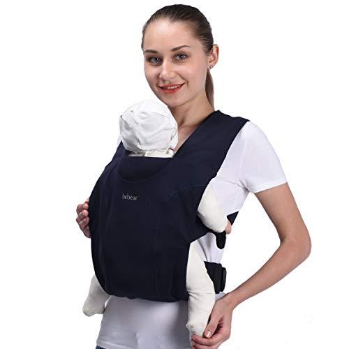 Bebamour Babytrage für Neugeborene Umarmen Babywickeltrage für Neugeborene 7-25 Pfund, 100% Baumwolle (Dunkelblau)