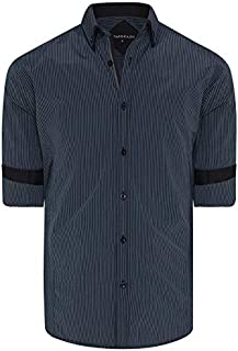 Tarocash Men's Ortiz Stripe Shirt Regular Fit Long Sleeve Sizes XS-5XL for Going Out Smart Occasionwear