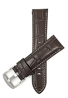 18mm - 24mm, Correa reloj de cuero auténtico, Aligator grano, hebilla de acero inoxidable, disponible en negro et marrón rojizo y marrón