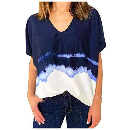 Tie Dye Shirt Damen Kurzarm Top V-Ausschnitt Sommer Oberteile Loose Oversize Tshirt Sexy Casual Rundhals Coole Tshirts für Teenager Mädchen Sport Tshirt Bequem Hemd Bluse Tee Tops