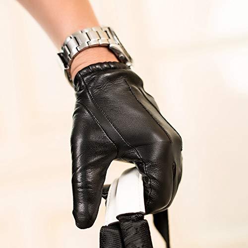 Agelec Vier Jahreszeiten-Handschuhe Lederhandschuhe Männer Dünne Touchscreen Fahrhandschuhe Kurze Schaffellhandschuhe Dicke Samt Warme Lokomotive Lederhandschuh (Größe : L)