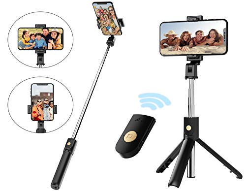 Selfie Stick Tripod with Removable Wireless Bluetooth Remote Shutter Compatible,Mini Pocket Selfie Stick for iPhone 11/11Pro/11Pro Max/XR/XS/X/8/8P/7/7P/6s/6 Samsung Galaxy S10/S9/8/7 Note 10/9/8/7
