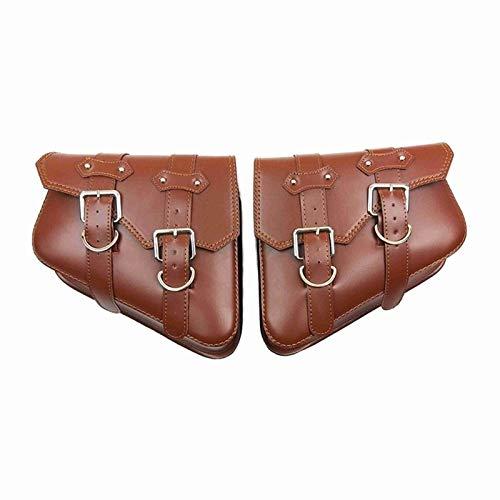 2 PCS para XL 883 1200 Bolsas de Montar de la Motocicleta PU Cuero Side Tool Bag Equipaje Negro y marrón XL883 XL1200 (Color Name : Brown)
