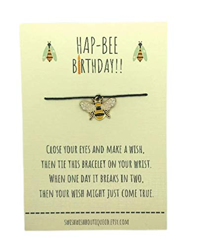Birthday Wish Bracelet - Fully Adjustable - Made With an Enamel and Alloy Bee Charm on Waxed Cotton Cord - Mounted on Printed Ivory Keepsake Card - Complete with Luxury Gift Envelope