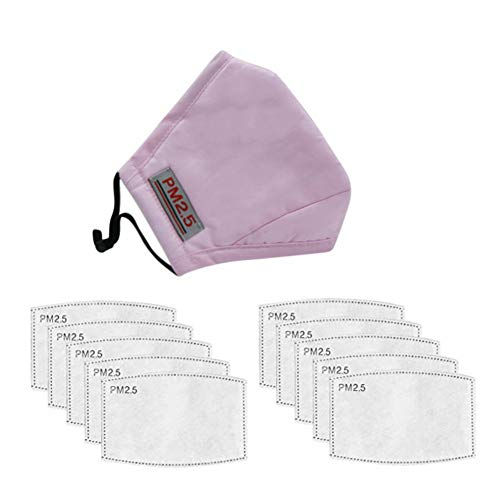 1 Adult Teens Cotton Mouth Cover & 10pcs Activated Carbon Inserts for Sports Outdoor Activities, Pink