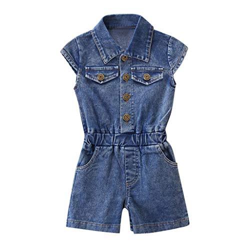 Janly Clearance Sale Conjunto de trajes para niñas de 0 a 7 años, ropa de bebé de manga corta con botones de mezclilla, bonito regalo de Pascua, juego de ropa de bebé para 3 a 4 años (azul)