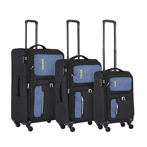 TravelZ Triple Pocket USB Luggage Set - 3-Piece Suitcase Set Soft - Blue/Black