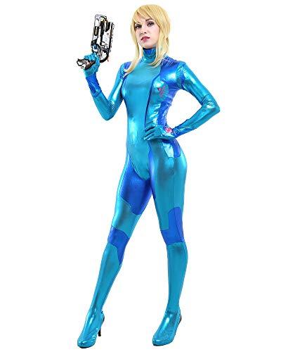 miccostumes Women's Deluxe Zero Suit Cosplay Costume Bodysuit (M) Blue