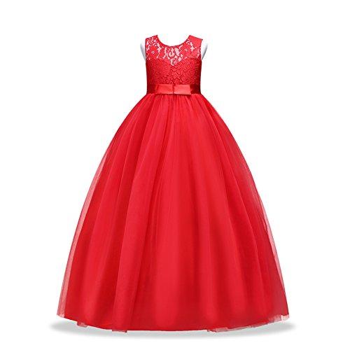 Timlung Dzieci M?Dziewczynka koronkowa sukienka w kwiaty suknia wieczorowa, czerwony, 164 cm