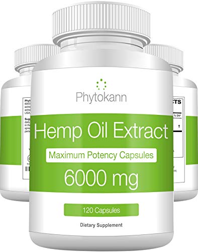 Hemp Oil Capsules 6000 Mg (120 Capsules | 120 Servings) - Best 100% Organic Hemp Oil Extract for Pain Support - Natural Anxiety and Immune Support with Omega 3 6 9 - Made in USA