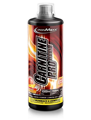 IronMaxx Carnitin Pro Liquid, Mango – Erfrischendes Sportgetränk mit Carnitin & Vitamin B6 zur Unterstützung beim Abnehmen in der Diätphase – 1er Pack (1 x 1 l)
