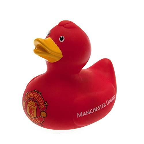 Bade-Ente / Badewannen-Ente / Gummi-Ente mit Manchester United FC Logo (Einheitsgröße) (Rot)