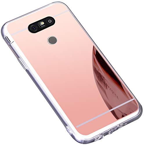 Surakey Cover LG G5, Effetto Specchio Custodia in Silicone Brillante Colore di Placcatura Lusso Mirror Case Antiurto TPU Bumper Ultra Sottile e Leggero Protettiva Cover per LG G5,Oro Rosa