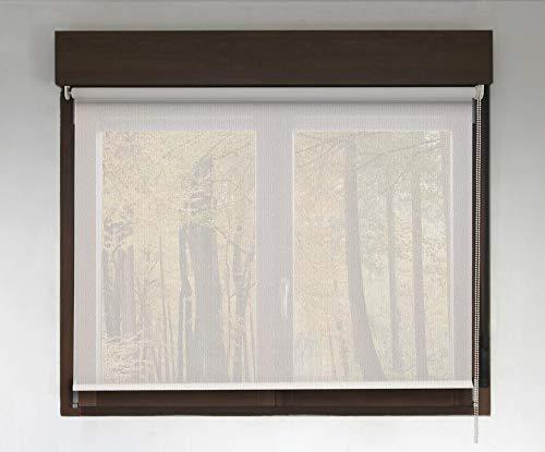 Estor Enrollable Screen Premium (Desde 40 hasta 300cm de Ancho - Permite Paso de luz y Ver el Exterior sin Que lo vean). Color Blanco Lino. Medida 130cm x 200cm para Ventanas y Puertas